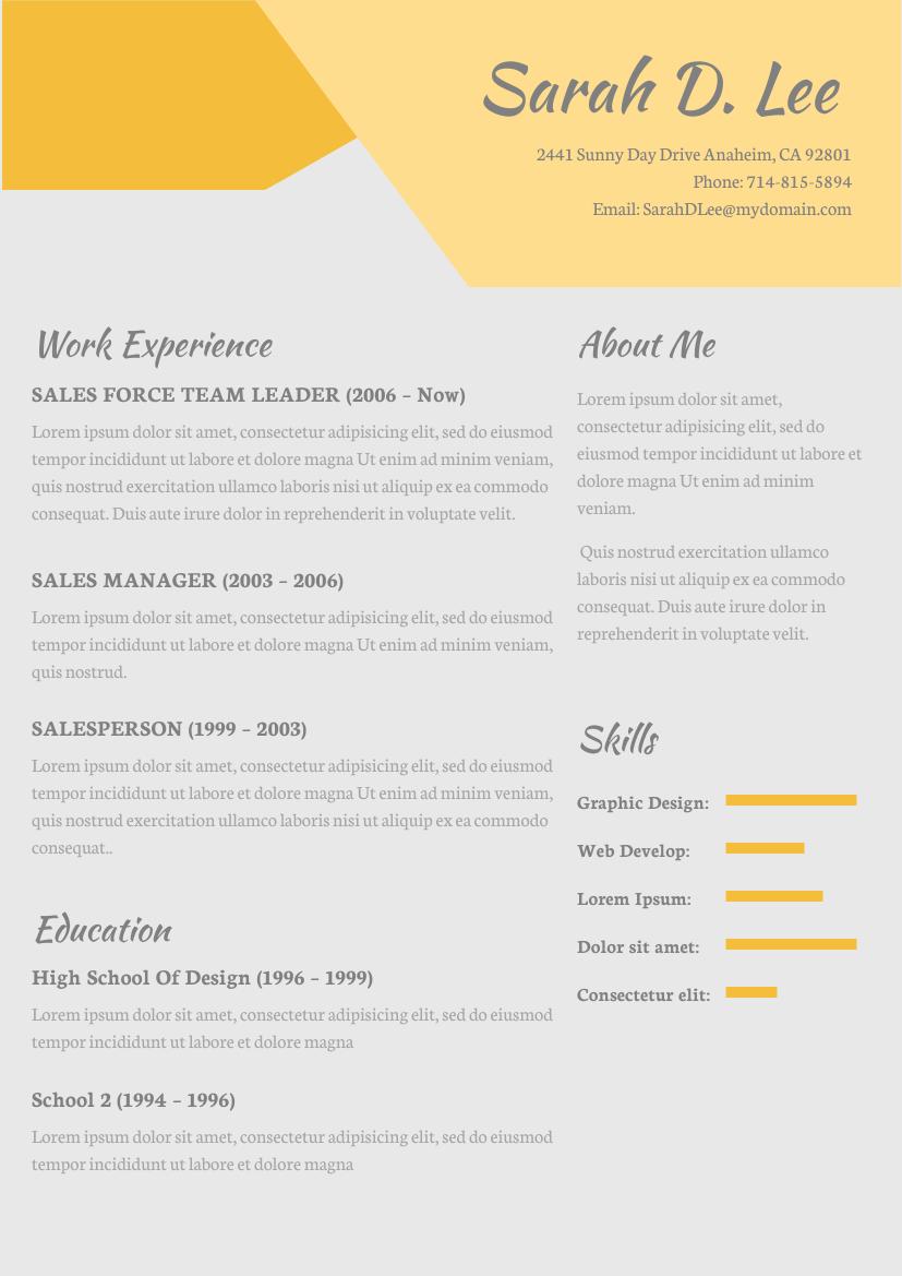 Yellow Theme Resume