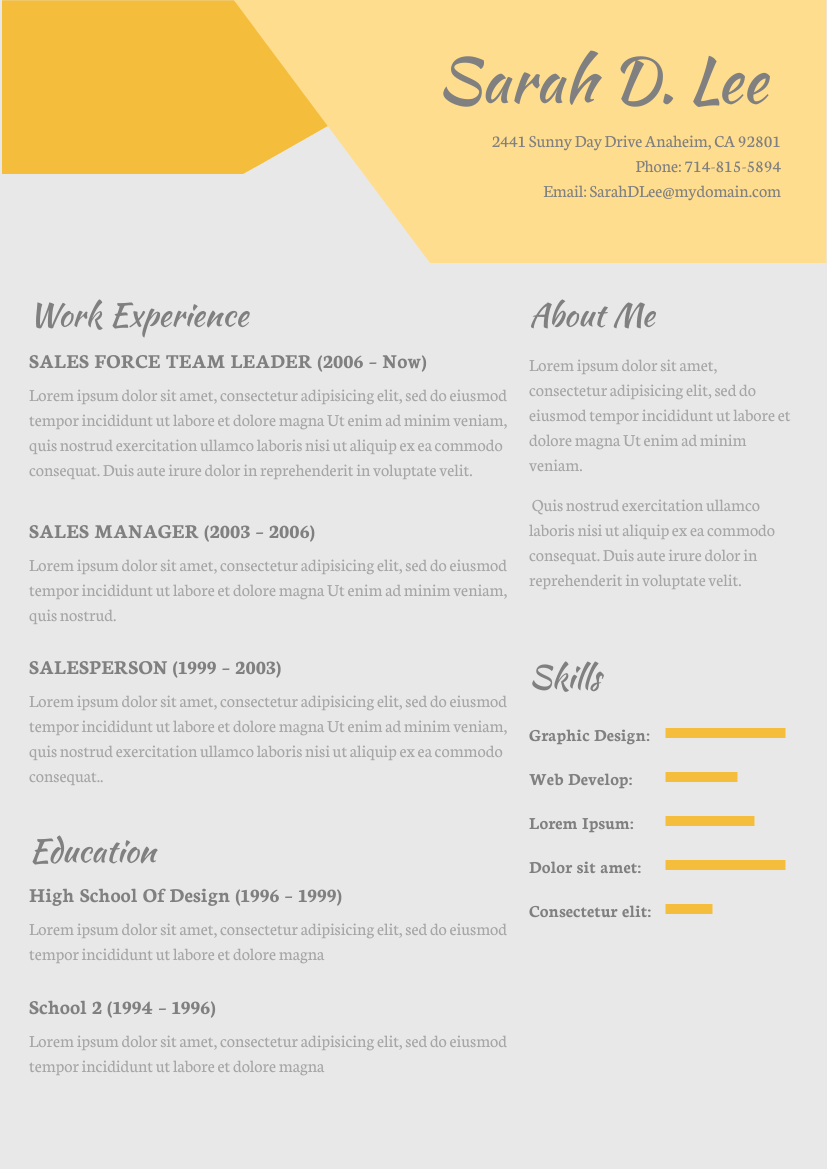 Resume template: Yellow Theme Resume (Created by InfoART's Resume maker)