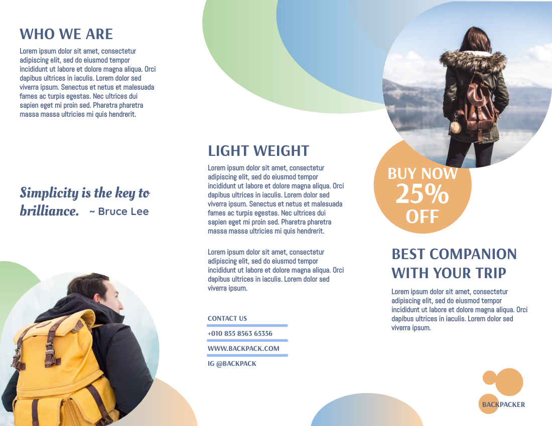 Brochure template: Traveling Backpack Promote  Brochure (Created by InfoART's Brochure maker)