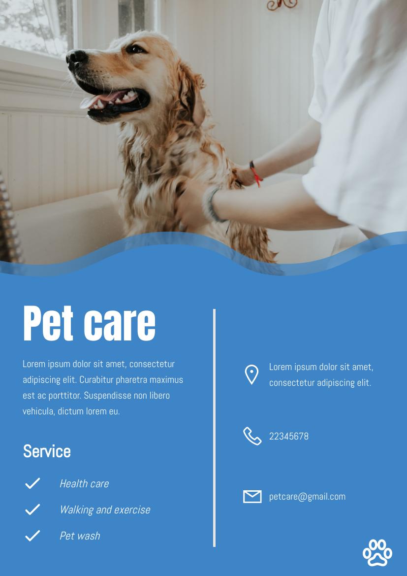 Flyer template: Pet care flyer (Created by InfoART's Flyer maker)