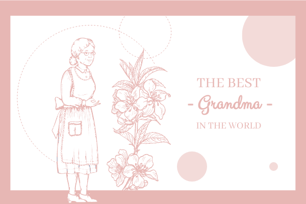 Greeting Card template: The Best Grandma Floral Greeting Card (Created by InfoART's Greeting Card maker)