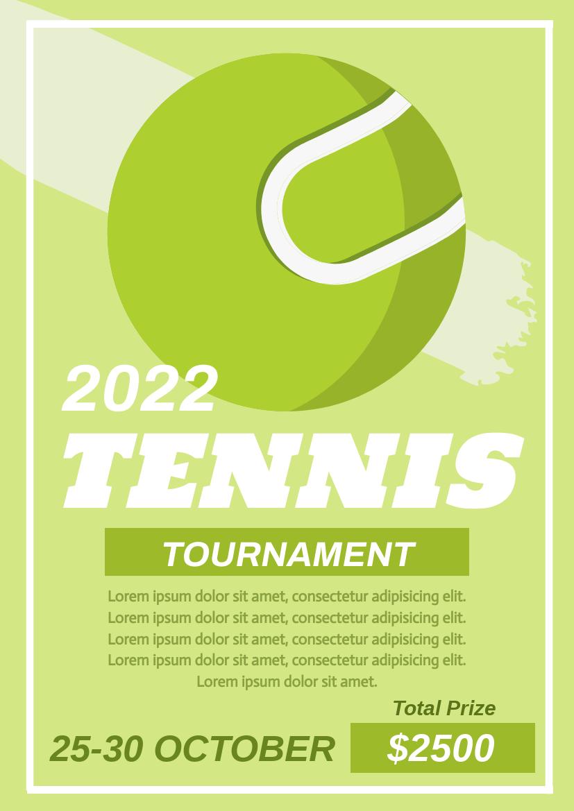 Flyer template: Tennis Tournament Flyer (Created by InfoART's Flyer maker)