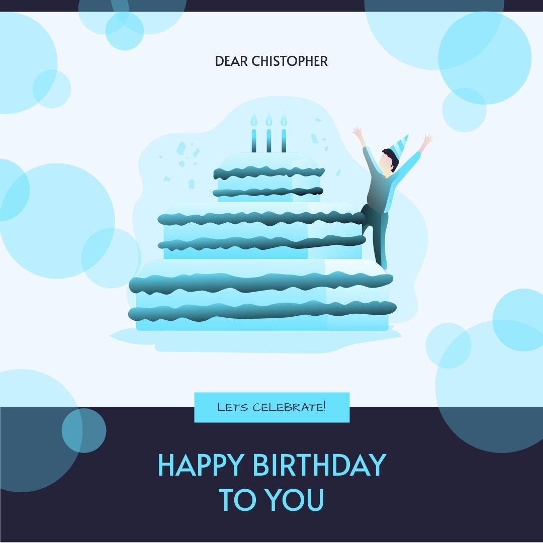 Instagram Post template: Neon Blue Birthday Cake Illustration Instagram Post (Created by InfoART's Instagram Post maker)