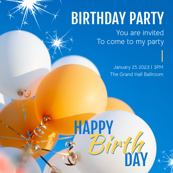 Invitation template: Blue And Yellow Balloon Birthday Party Invitation (Created by InfoART's Invitation marker)