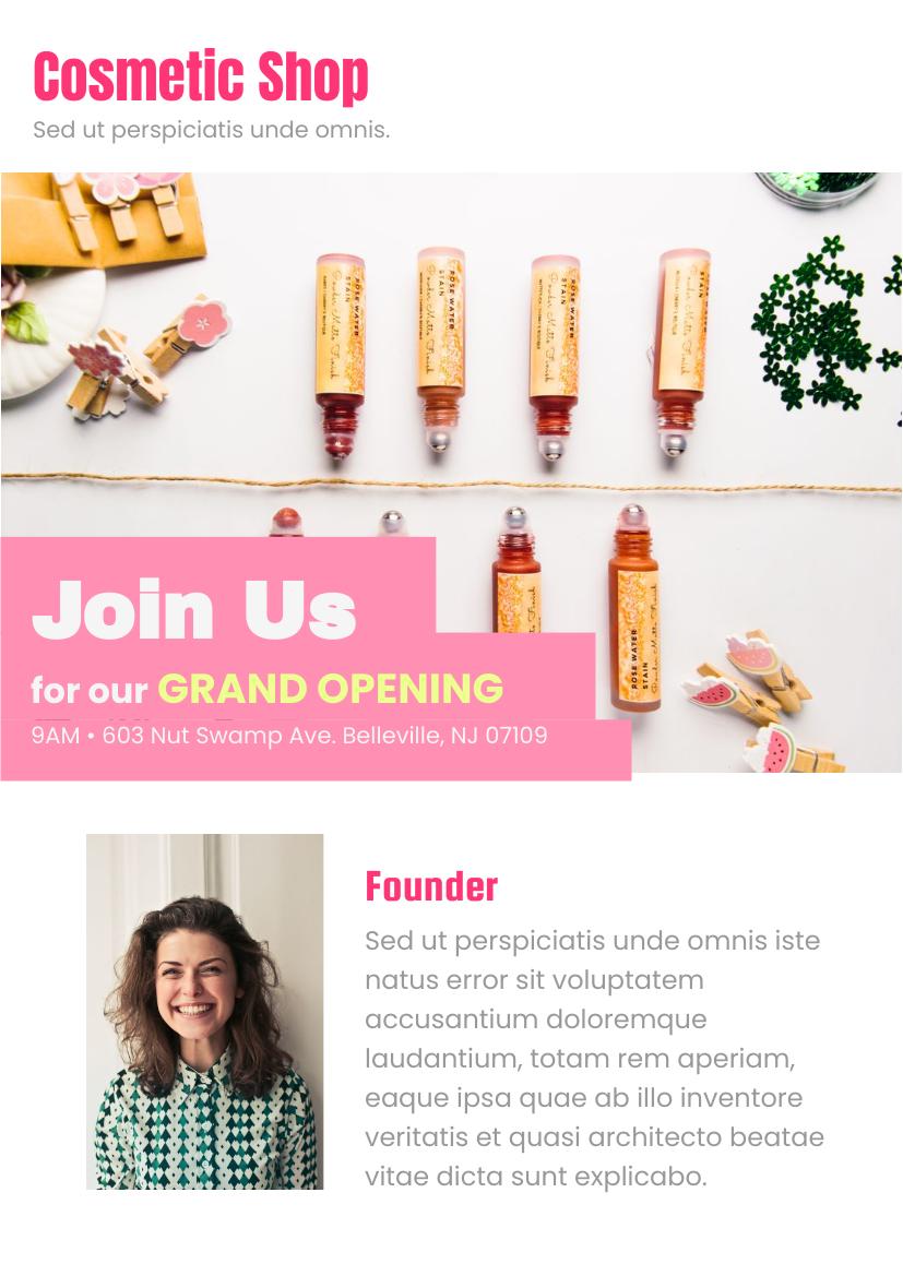 Flyer template: Cosmetic Shop Grand Opening Flyer (Created by InfoART's Flyer maker)