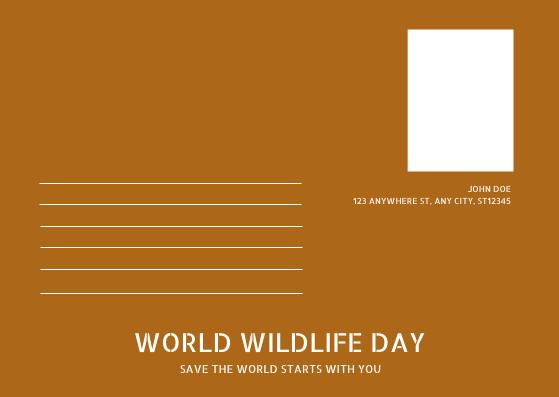 Postcard template: Brown Giraffe Photo World Wildlife Day Post Card (Created by InfoART's Postcard maker)