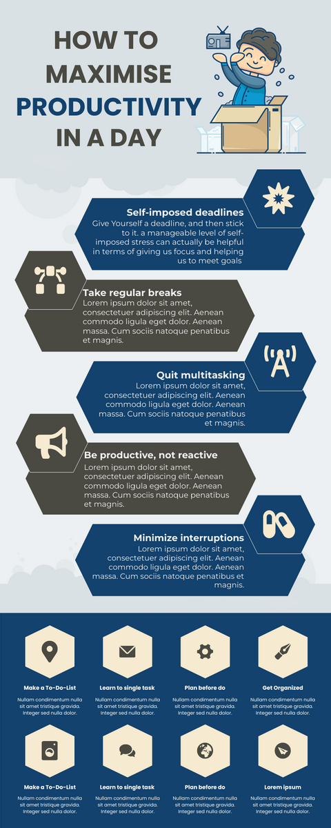 Infographic template: How To Maximize Productivity In A Day Infographic (Created by InfoART's Infographic maker)