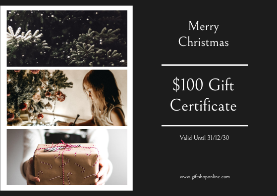 Gift Card template: Black Christmas Photos 100 Dollar Gift Card (Created by InfoART's Gift Card maker)