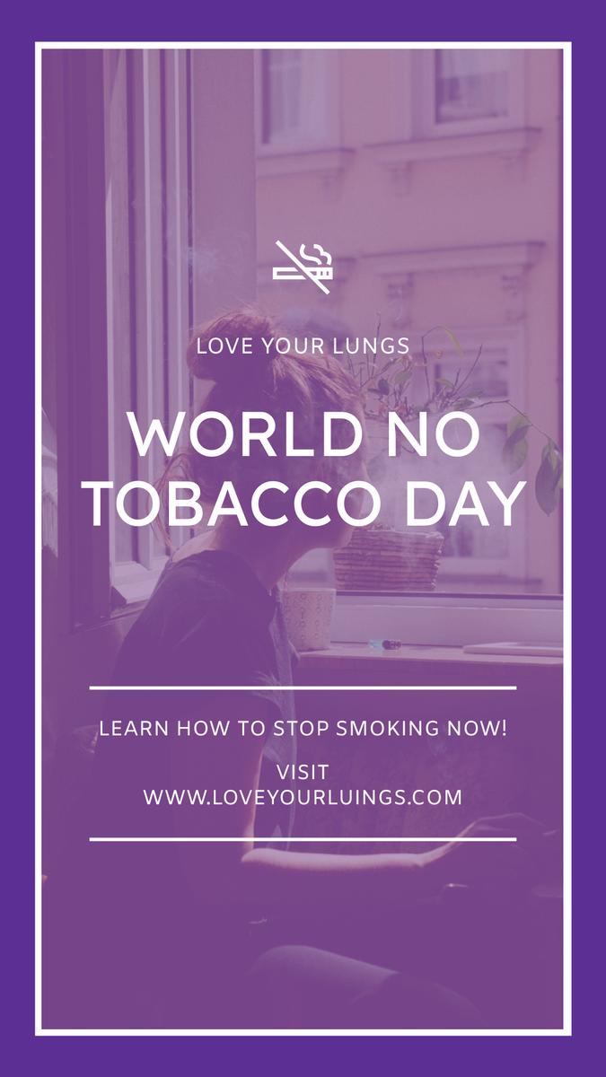 Instagram Story template: Purple Tobacco Photo No Tobacco Day Instagram Story (Created by InfoART's Instagram Story maker)