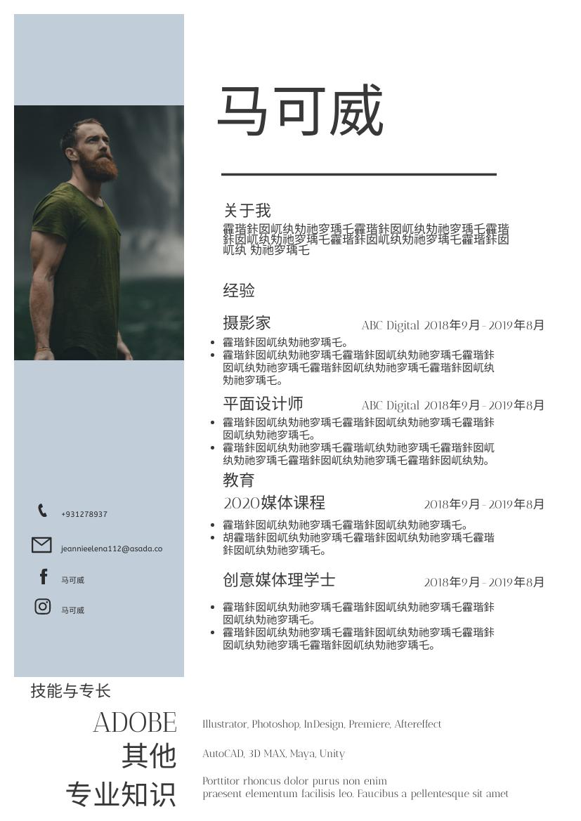 履历表 template: 灰色简历 (Created by InfoART's 履历表 maker)