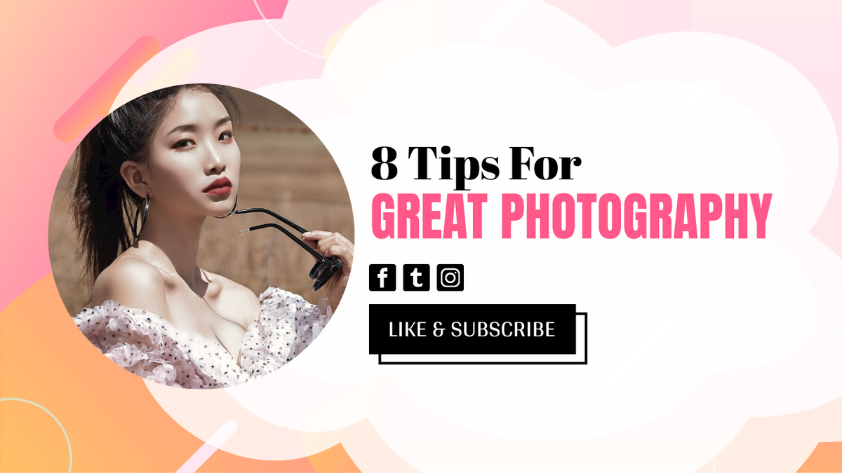 YouTube Thumbnail template: Tips For Great Photography YouTube Thumbnail (Created by InfoART's YouTube Thumbnail maker)