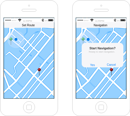 IOS Wireframe template: Navigation App (Created by Diagrams's IOS Wireframe maker)