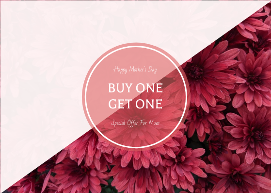 Gift Card template: Pink Floral Background Mother's Day Gift Card (Created by InfoART's Gift Card maker)