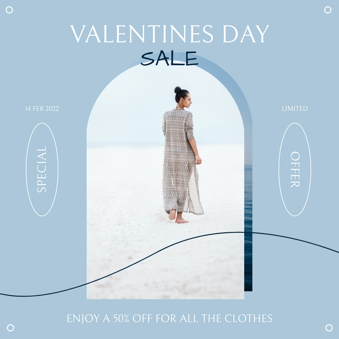 Instagram Post template: Blue Soft Valentines Day Limited Sale Instagram Post (Created by InfoART's Instagram Post maker)