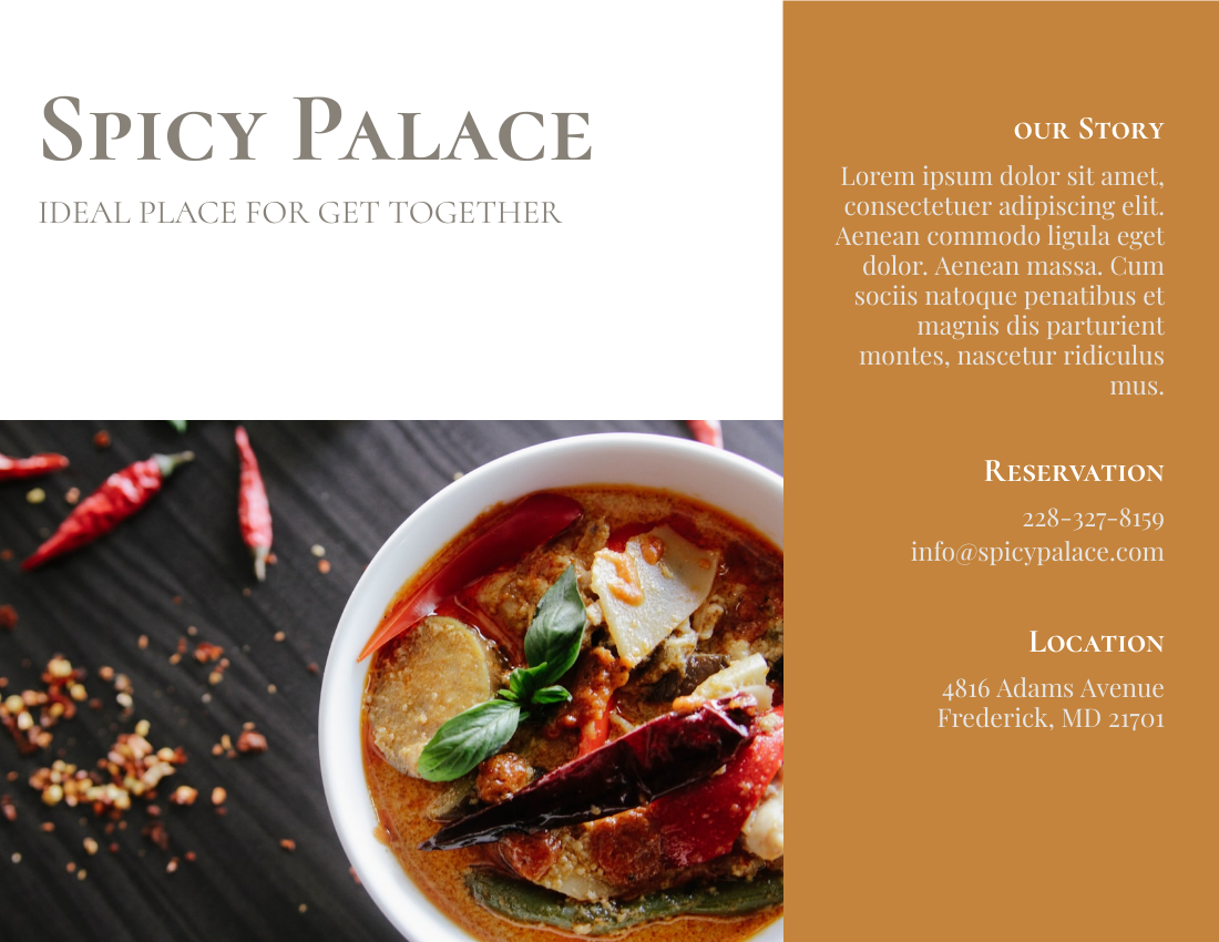 Spicy Palace Brochure