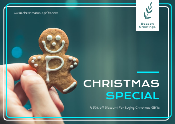 Gift Card template: Blue And White Christmas Cookies Gift Card (Created by InfoART's Gift Card maker)