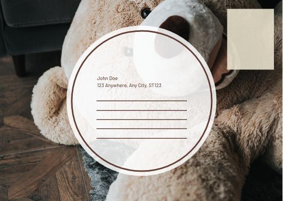 Postcard template: Brown Teddy Bear Photo Get Well Soon Postcard (Created by InfoART's Postcard maker)
