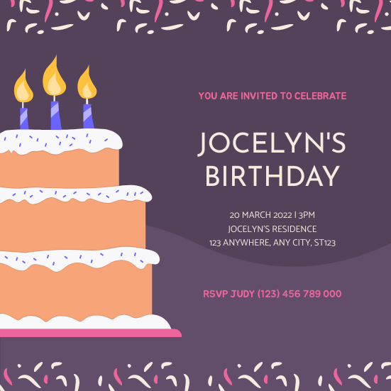 Invitation template: Purple And Pink Birthday Cake Illustration Party Invitation (Created by InfoART's Invitation maker)