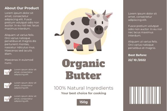 Label template: Organic Butter Label (Created by InfoART's Label maker)