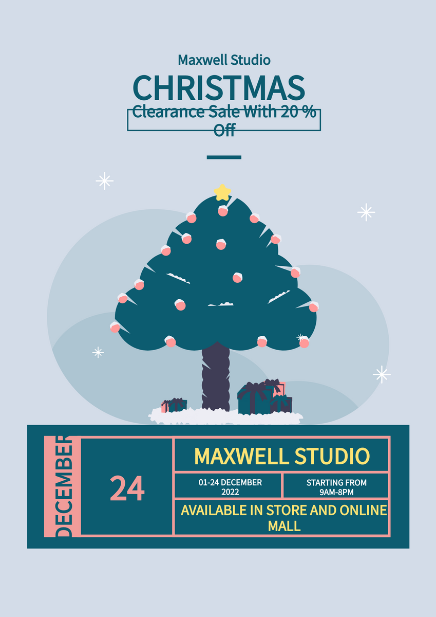 Poster template: Christmas Clearance Sale Poster (Created by InfoART's Poster maker)