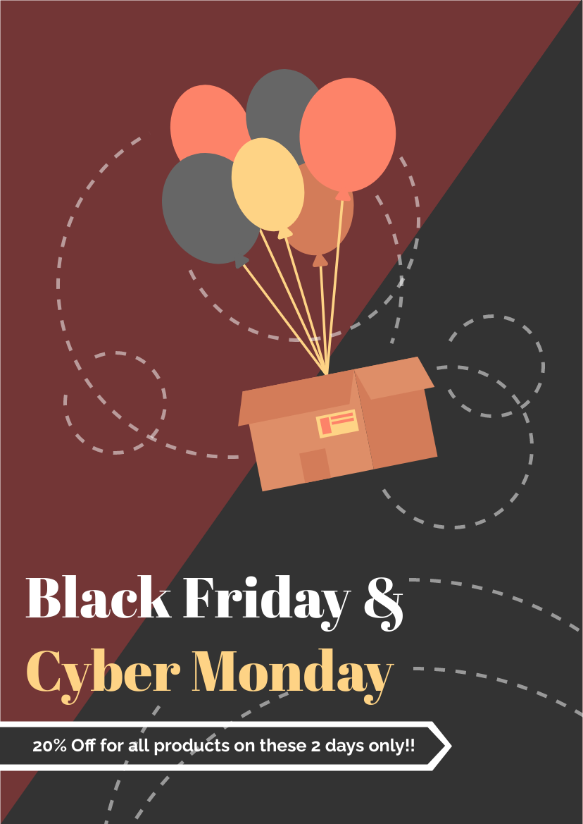 Flyer template: Balloon Black Friday And Cyber Monday Flyer (Created by InfoART's Flyer maker)