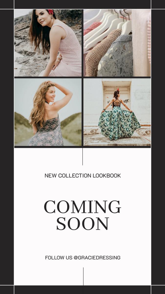 Instagram Story template: Minimal Dress Photo Collage Lookbook Promotion Instagram Stories (Created by InfoART's Instagram Story maker)
