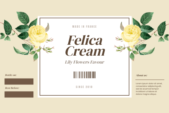 Label template: Lily Flowers Cream Product Label (Created by InfoART's Label maker)