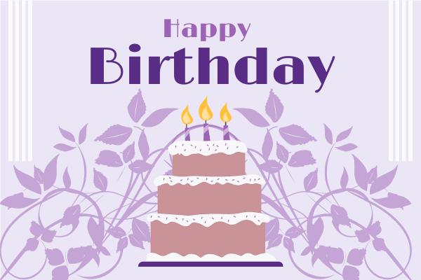 Greeting Card template: Purple Birthday Cake Greeting Card (Created by InfoART's Greeting Card maker)