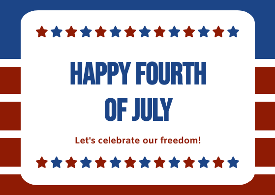 Postcard template: Blue Red Star Happy Fourth of July Postcard (Created by InfoART's Postcard maker)