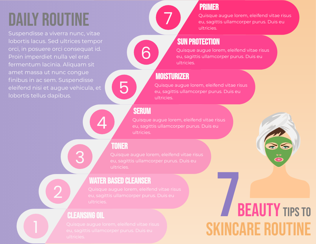 Infographic template: 7 Beauty Tips to Skincare Routine Horizontal Infographic (Created by InfoART's Infographic maker)