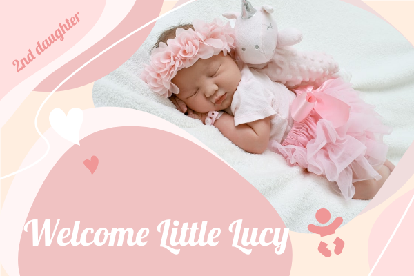 Greeting Card template: Welcome Little Baby Girl Greeting Card (Created by InfoART's Greeting Card maker)
