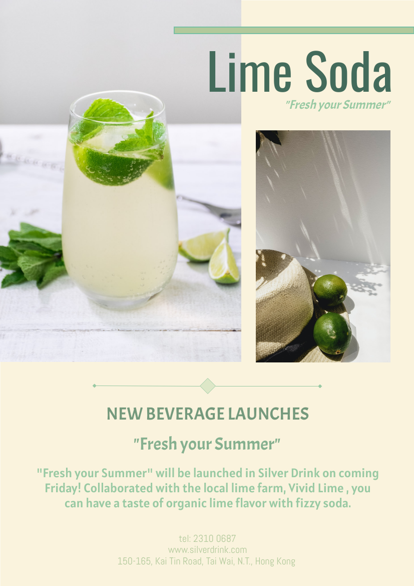 Flyer template: New Drink Launches Poster (Created by InfoART's Flyer maker)
