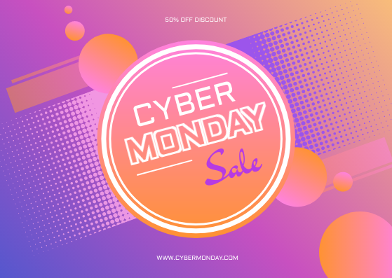 Gift Card template: Violet Gradient Cyber Monday Sale Gift Card (Created by InfoART's Gift Card maker)