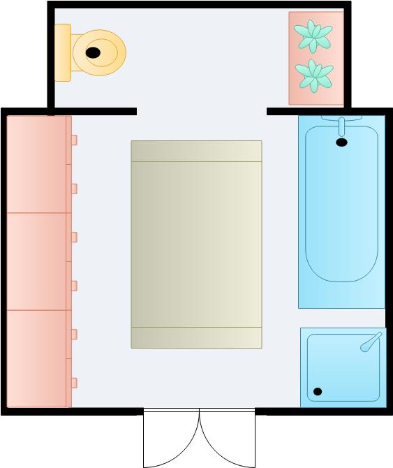Bathroom Floor Plan template: Bathroom Sections (Created by Diagrams's Bathroom Floor Plan maker)