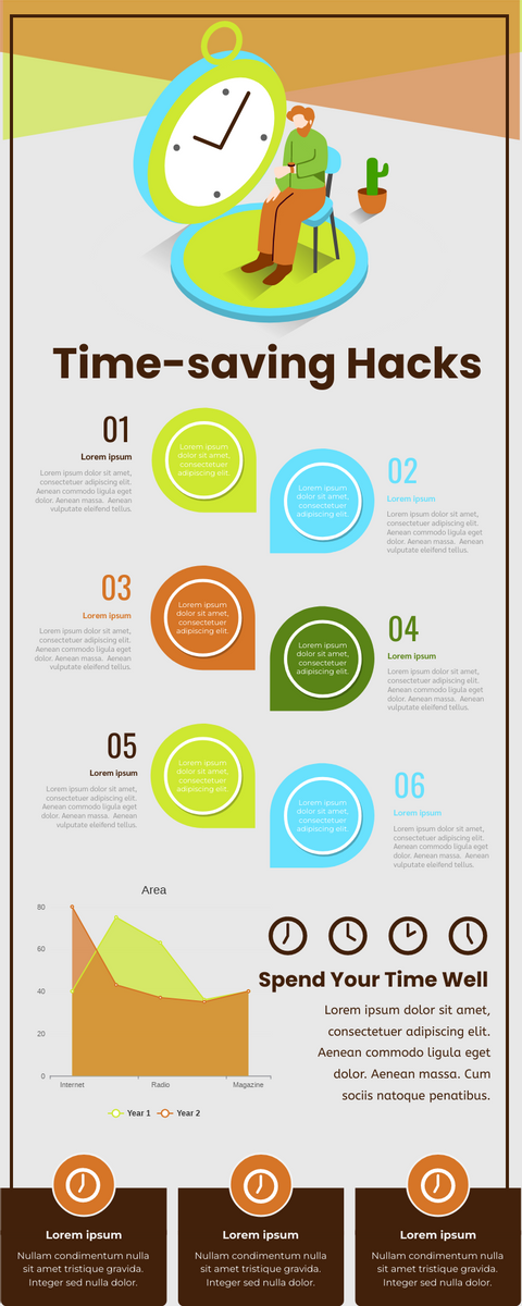 Infographic template: Time-saving Hacks Infographic (Created by InfoART's Infographic maker)