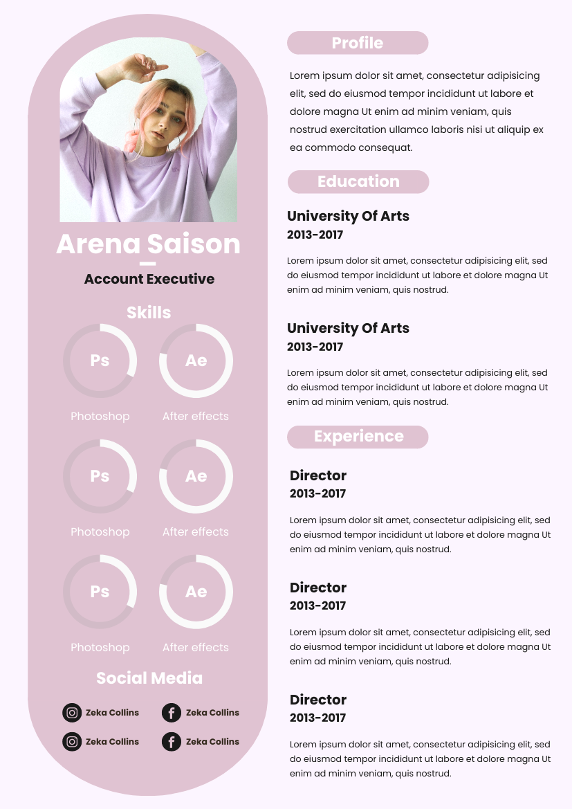 Resume template: Pink Peach Resume (Created by InfoART's Resume maker)