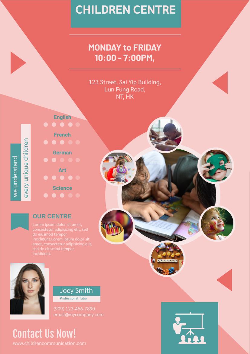 Flyer template: Children Centre Flyer (Created by InfoART's Flyer maker)