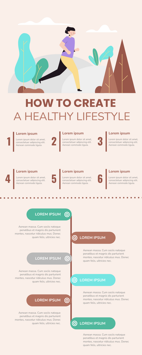 Infographic template: Create A Healthy Lifestyle Infographic (Created by InfoART's Infographic maker)