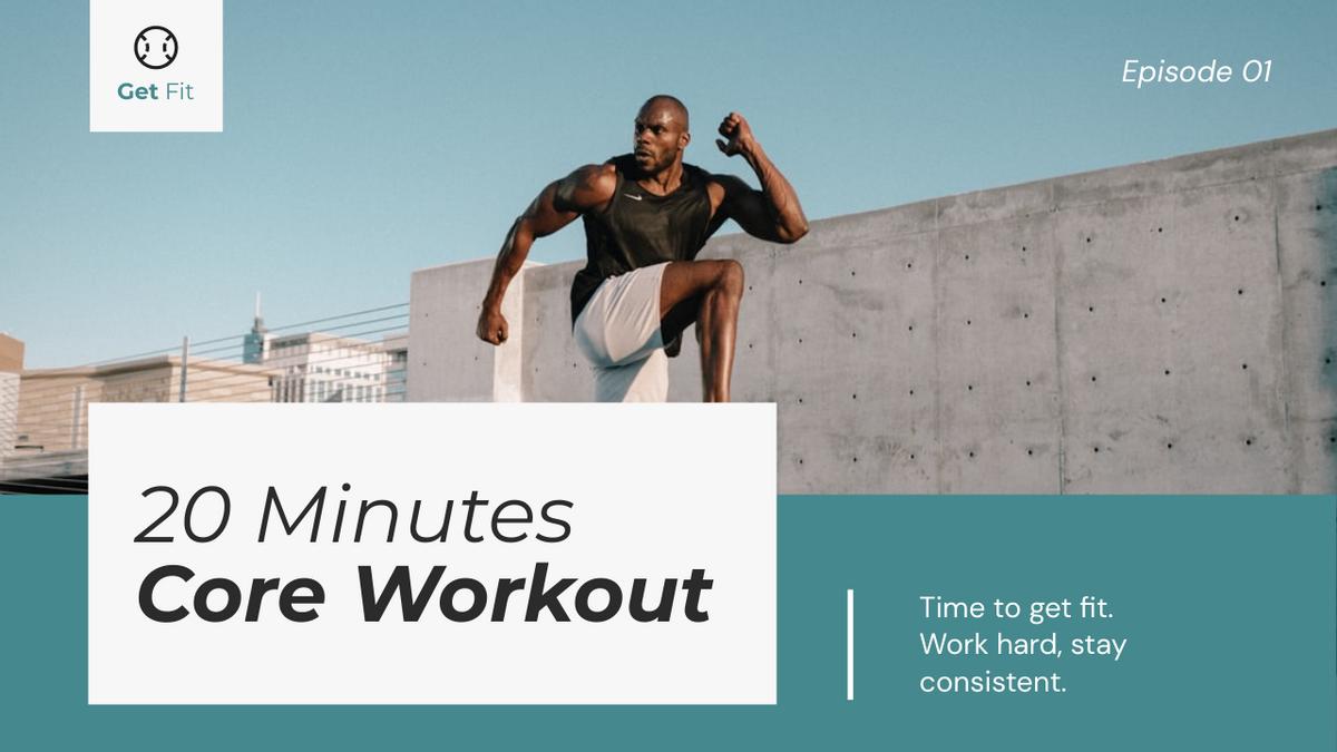 YouTube Thumbnail template: Core Workout Fitness YouTube Thumbnail (Created by InfoART's YouTube Thumbnail maker)