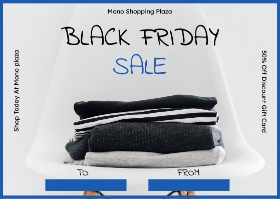Gift Card template: Simple Blue Black Friday Clothes Sale Gift Card (Created by InfoART's Gift Card maker)