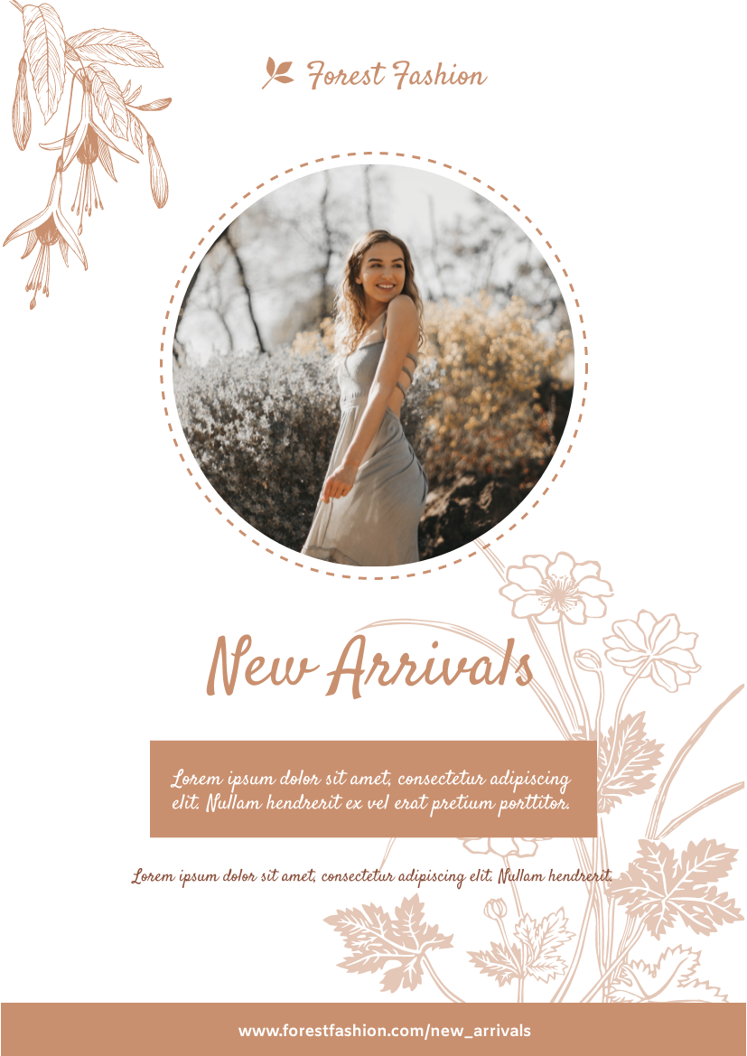 Flyer template: Forest Fashion New Arrivals Flyer (Created by InfoART's Flyer maker)