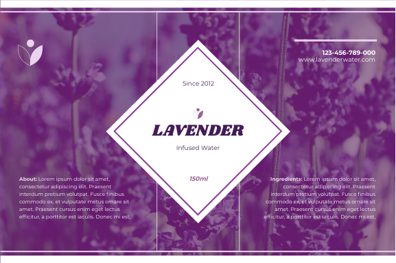 Label template: Lavender Water Product Label (Created by InfoART's Label maker)