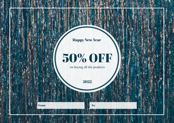 Gift Card template: Blue Confetti Background New Year Sale Gift Card (Created by InfoART's Gift Card maker)