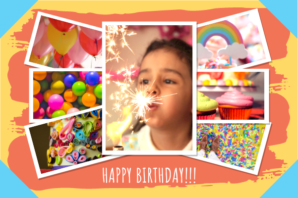 Greeting Card template: Kids Birthday Collage Greeting Card (Created by Collage's Greeting Card maker)