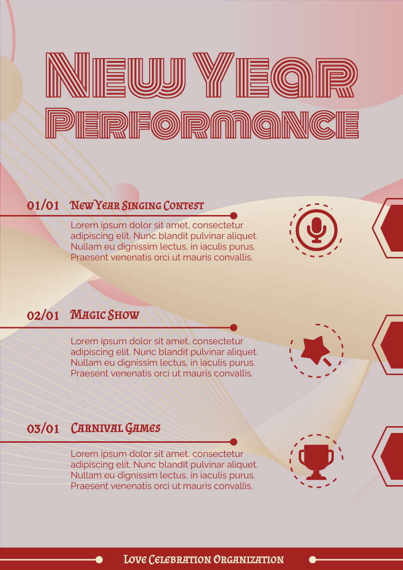 Flyer template: New Year Performance Informative Flyer (Created by InfoART's Flyer maker)