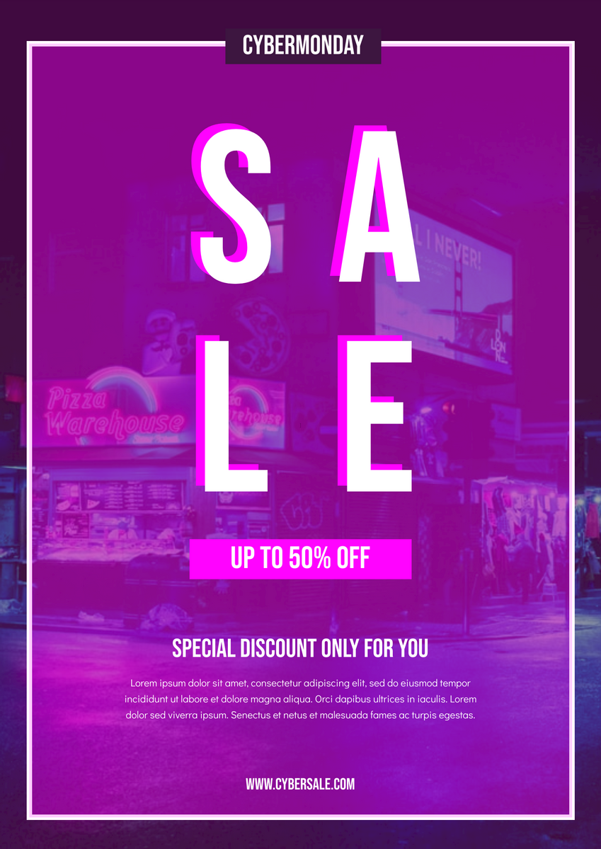 Poster template: Pink Neon Cyber Monday Sale Poster (Created by InfoART's Poster maker)