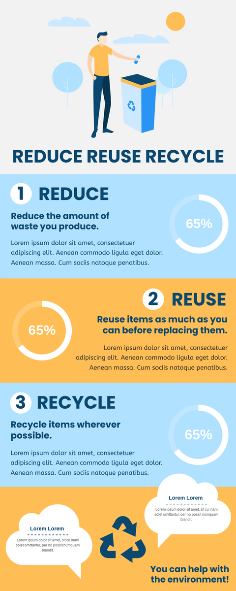Infographic template: Reduce Reuse Recycle Infographic (Created by InfoART's Infographic maker)