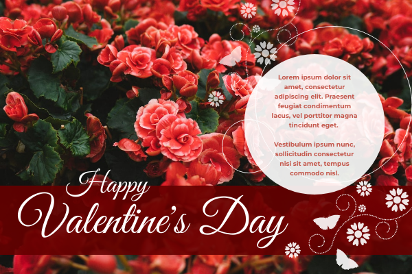 Greeting Card template: Happy Valentine's Day Rose Greeting Card (Created by InfoART's Greeting Card maker)