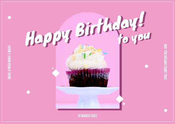 Postcard template: Pink And White Cake Photo Birthday Postcard (Created by InfoART's Postcard maker)