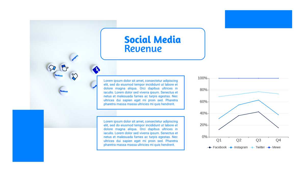 100% Stacked Line Chart template: Revenue Of Social Media 100% Stacked Line Chart (Created by Chart's 100% Stacked Line Chart maker)